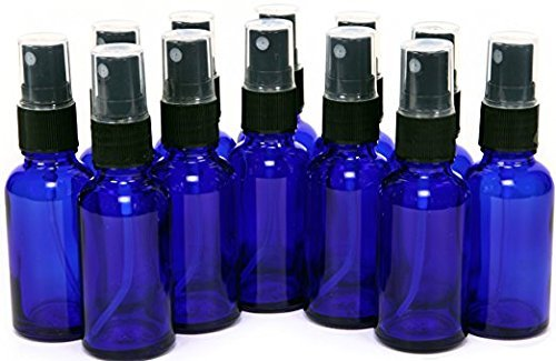 GPS Cobalt Blue Boston Round Glass Bottle with Black Fine Mist Sprayer, 2 Oz, Set of 12 by GPS