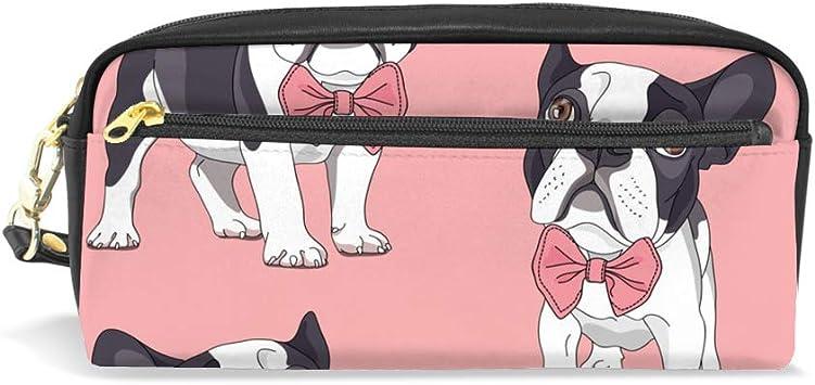 Lafle - Estuche de piel sintética para bolígrafos, diseño de bulldog francés con lazo rosa: Amazon.es: Oficina y papelería