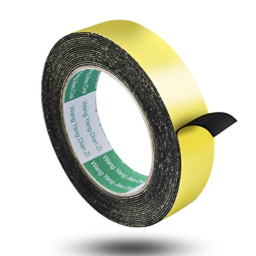 Aweking Double Sided Sponge Tape 2mm Thickness 12mm x 5m, Water Resistant,Shock Absorbing,Sound Deadened Insulation,Dust Sealing,Fixed,Black