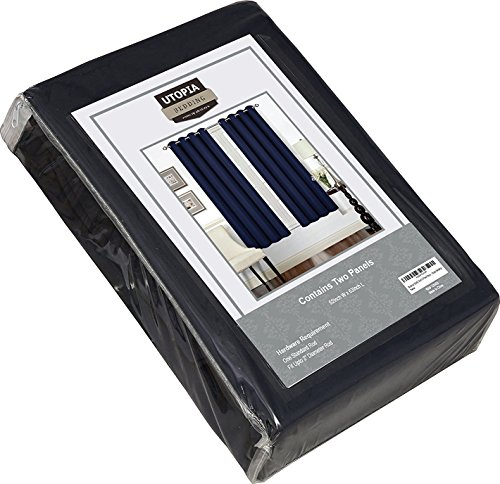 Utopia Bedding - Blackout Room Darkening and Thermal Insulating Window Curtains / Panels / Drapes - 2 Panels Set - 8 Grommets per Panel - 2 Tie Back Included (Navy, 52 x 63 with Grommets)