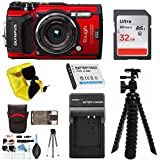 Olympus TG-5 Waterproof Digital Camera (Red) w/ 32GB SD Card, Spare Battery, Extra Charger, Case - DigitalAndMore Holiday Bundle