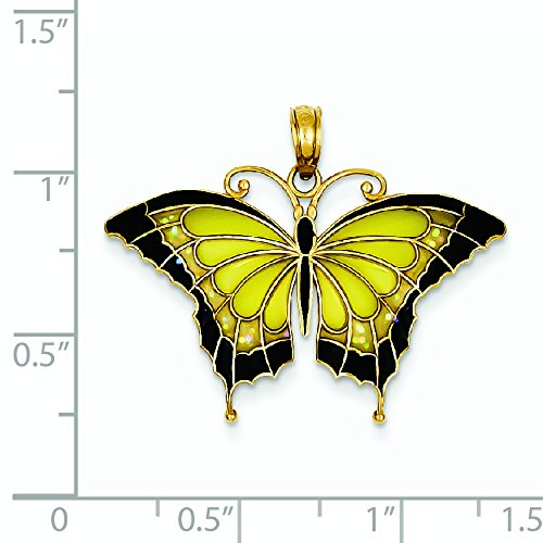 Vitrail jaune 14 carats JewelryWeb Pendentif Papillon à ailes
