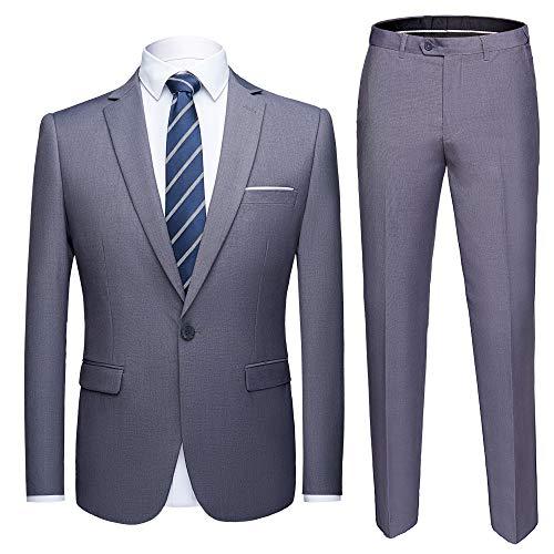 YIMANIE Men's Suit Slim Fit One Button 2 Piece Suit Tuxedo Business Wedding Party Casual (M, Light Grey) ()