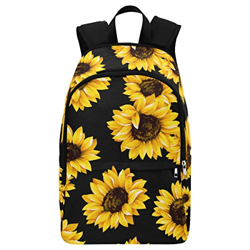 InterestPrint Custom Summer Sunflower Pttern Casual Backpack School Bag Travel Daypack Gift