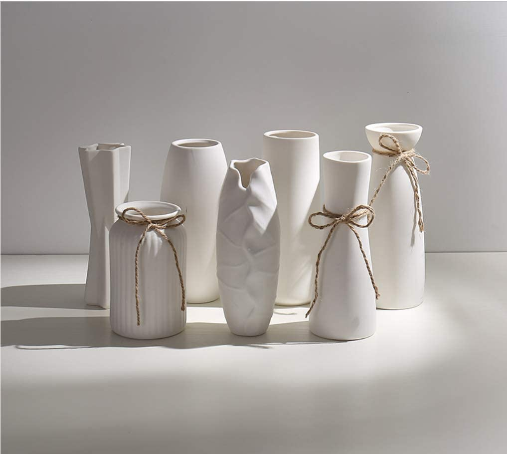 White Ceramic Vases with Differing Unique Rope Waist Design for Home Décor Oval