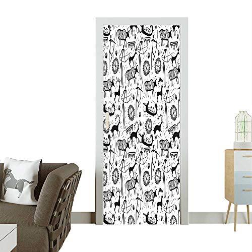 Homesonne Modern Art Door Sticker Primitive Pattern Cultural Mask and Arrows Folk Black White Environmentally Friendly decorationW30 x H80 INCH