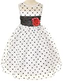 White Organza Special Occasion Dress with Black Polka Dots Girls - 4