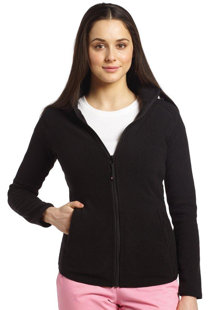 Allure by White Cross Women's Polar Fleece Zip Front Solid Scrub Jacket Xx-Large Black