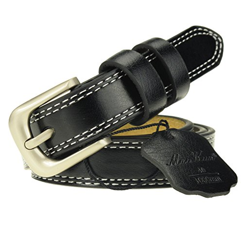 "Women's Skinny Genuine Leather Belt Black with Polished Alloy Buckle for Waist 29""-34"""
