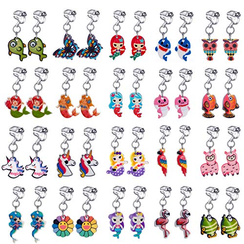 - 20 Pairs Clip on Earrings Princess Play Jewelry Earrings Set Mermaid Clipons Hoops Clipon Earring Lollipop Ice Cream Dangle earring Rainbow Eardrop for little girls Toys