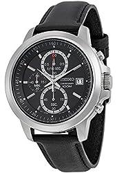 Seiko SKS445P2 Chronograph Black Dial Black Leather Band Mens Quartz Watch