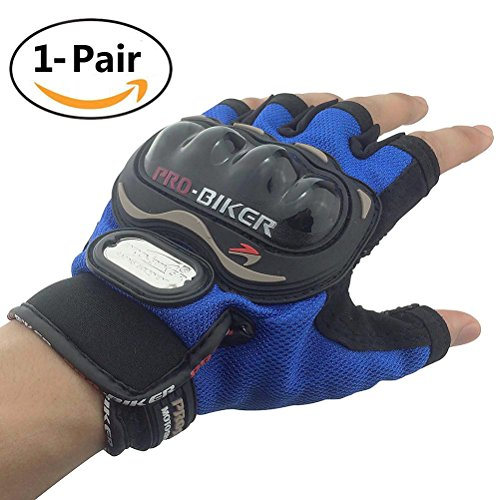 Tripcraft Hard Knuckle Gloves Fingerless for Men Women Carbon Fiber Gloves Military Half Finger Motorcycle Gloves Tactical Gloves for Riding,Shooting,Airsoft,Cycling,Combat,Paintball,1 Pair(Blue)