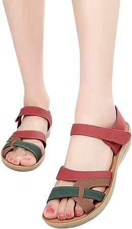 Sandalias Caminar para Mujer Verano 2019 Fiesta Planas Zapatos de Embarazadas Antideslizante Comodos Tacon Bajo Elegantes Zapatillas Madre Suela Blanda Playa PAOLIAN