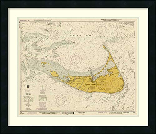 Framed Wall Art Print | Home Wall Decor Art Prints | Nautical Chart - Nantucket Island ca. 1975 - Sepia Tinted by NOAA Historical Map-Chart | Modern Contemporary Decor Framed Art Print | Home Wall De