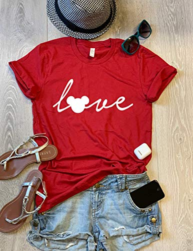 Love Screen - Mickey Mouse Love. SIZE X-SMALL. Red. Hand Screen Printed With Eco Water Based Ink. Disney Love T Shirt. Cool T Shirt. Disney Trip Shirt. Unisex Fit. Crew-Neck Shirt.