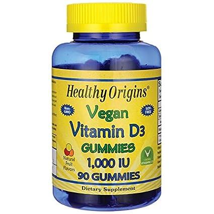 Veganos Vitamina D3 Gomitas, sabores de frutas naturales, 1.000 UI - Orígenes saludables