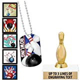 Crown Awards Bowling Goodie Bags, Bowling Favors for Bowling Themed Party Supplies Comes with Personalized Bowling Pin Kids Bowling Trophy, Bowling Dog Tag and Bowling Stickers 20 Pack
