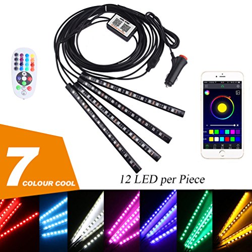 PROAUTO LED Interior Underdash Lighting Kit Car Lights 12 led per pcs 9.1'' with Bluetooth Car Interior LED Light Flexible Accent Light Kit Neon Lights For Car LED Lights for Truck Jeep SUV Motorcycle - Used Truck Crane