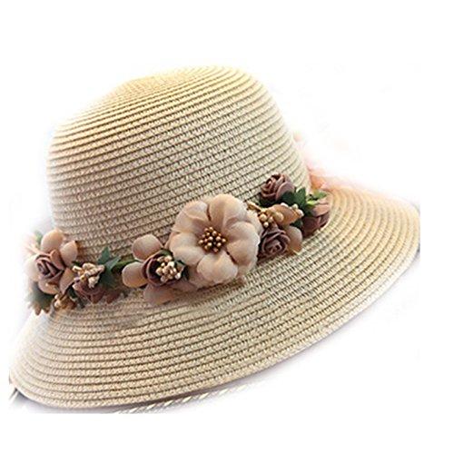 WKING Summer crochet handmade flower straw hat uv protection womens wreath sun hat foldable beach cap sunhat (Wreath Crochet Pattern)