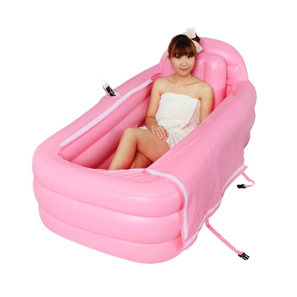 大型の大人用インフレータブルバスタブ、折りたたみ式自立式バス、家庭用風呂SPAの子供用プール Hand pump Pink B07TYQVRPR
