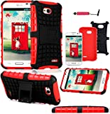 Magic Global Gadgets - Red Heavy Duty Armour Tough Shock Proof Stand Hard Case Cover For L.G L70 D320N / Dual D325 / LG L70 Dual SIM D325 With Screen Guard, Cleaning Cloth & Stylus Pen