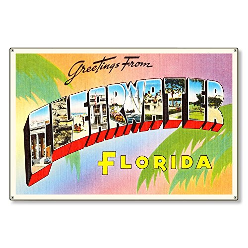 Clearwater Florida fl Old Retro Vintage Travel Postcard Reproduction Metal Sign Art Wall Decor Steel Sign Tin Sign 12x18 inch. ()