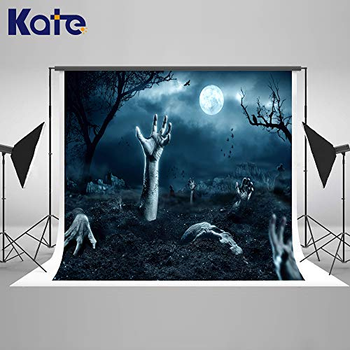 Kate 7×5ft Halloween Background Horror Night Grave Tomb Gost Backdrop Hallowmas Photo Studio Booth Props for A saints'Day Photography]()