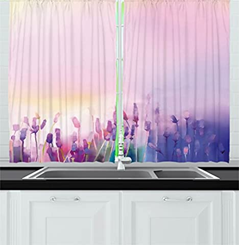 Watercolor Flower Home Decor Kitchen Curtains by Ambesonne, Blurred Lavenders in the Meadows Rural Country Nature Theme, Window Drapes 2 Panels Set for Kitchen Cafe, 55 W X 39 L Inches, Lilac Purple