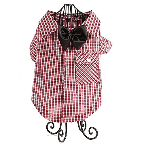 [Kuoser Casual Dog Plaid Shirt Gentle Dog Western Shirt Dog Clothes Dog Shirt + Dog Wedding Tie, Pet Puppy Cat Polo Shirt Apparel Clothes with Velcro closure for Small and Medium dogs XS-L,Red] (Blue Mountain State Cheerleaders Costume)