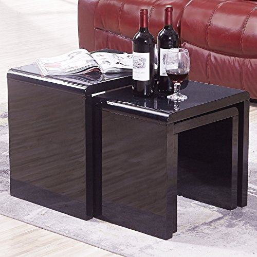 Black Coffee Table Nest: Mecor Nest Of 3 Tables High Gloss UEnjoy Nesting Tables