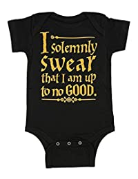 Harry Potter Unisex Baby Up To No Good One Piece Bodysuit - Black (6 Months)