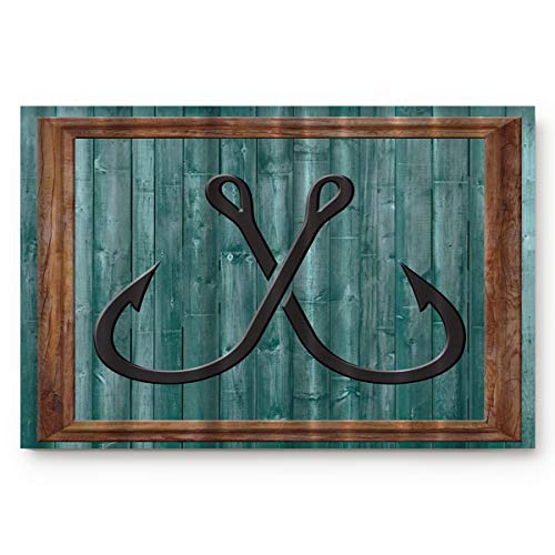 BULING Custom Door Mat Fishing Lures Nautical Anchor Modern Abstract Painting Symbol Indoor Non-Slip Rubber Entrance Rugs for Bathroom 30