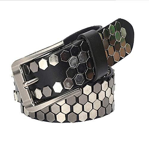 Dig dog bone Stylish Polygonal Rivet Leather BeltsGothic Belts Handmade Steampunk Studded Punk Rock Blet (Color : Black, Size : 110cm) ()