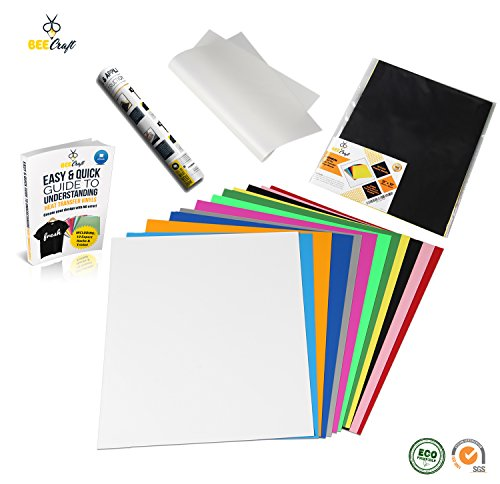 "BEECRAFT Ez-Ply Heat Transfer Vinyl BUNDLE | 12 Sheets + 1 Bonus Teflon Sheet, E-Book & Instructions | 100% PU HTV | 12""x10"" 