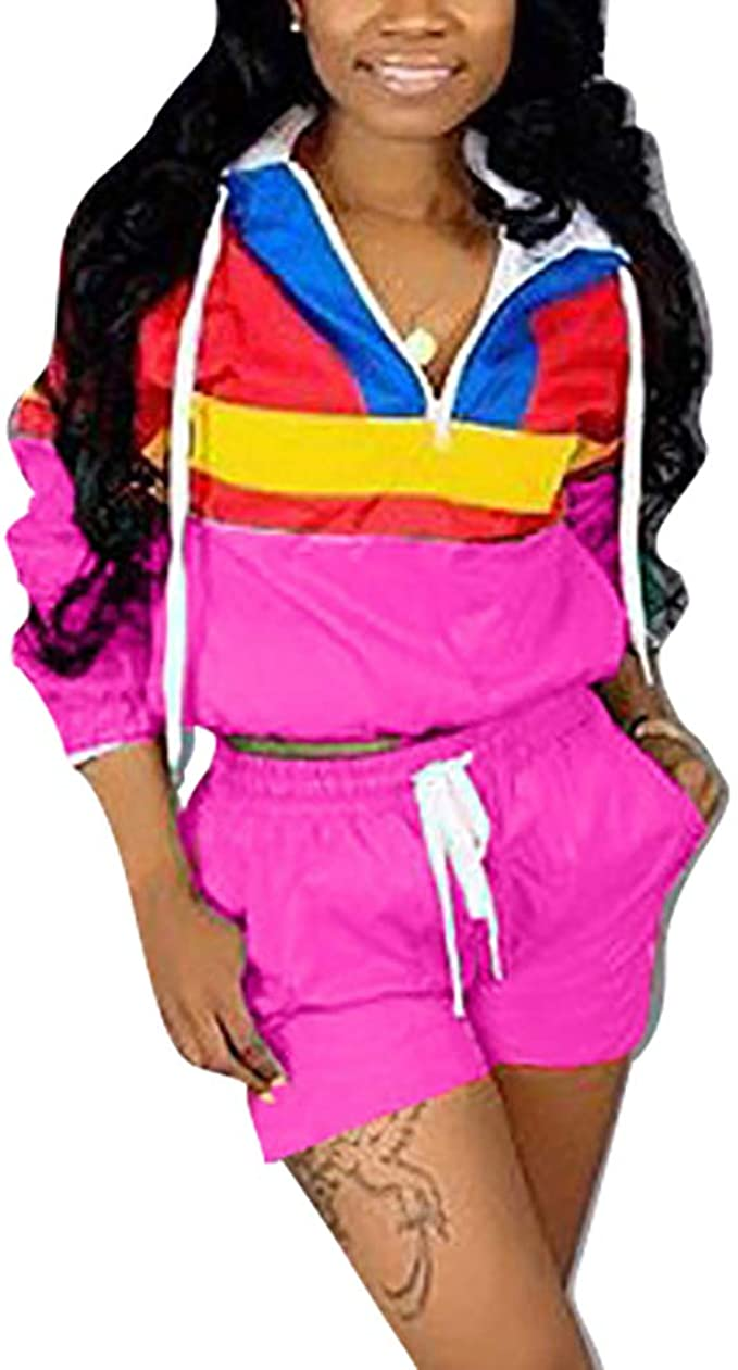 Vintage Coats & Jackets | Retro Coats and Jackets VOIKERDR Women 2 Piece Outfits Tracksuit Jumpsuits Lightweight Windbreaker Pullover Jacket Crop Top Pants Set $27.99 AT vintagedancer.com