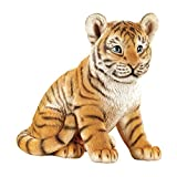 Collections Etc Sitting Baby Tiger Statue Outdoor Garden Decor or Indoor, Hand Painted