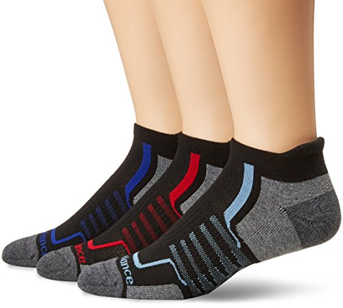 New Balance Performance Low Cut Tab Socks (3 Pair), Black/Grey/Red/Blue, Large