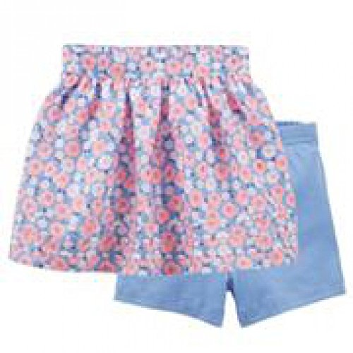 Carter's Girls' Sateen Tiered Skirt with Shorts (6 Months, Blue Floral (Floral Sateen Skirt)