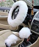 Yontree Winter Warm Faux Wool Handbrake Cover Gear Shift Cover Steering Wheel Cover 14.96'x 14.96' 1 Set 3 Pcs (White)