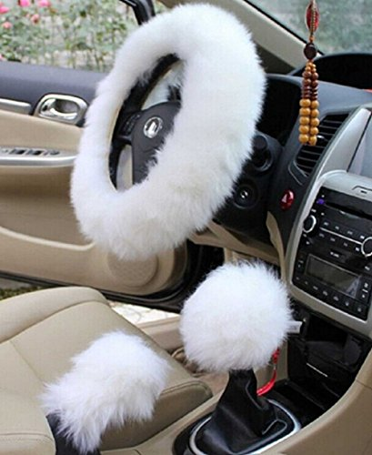 Yontree Winter Warm Faux Wool Handbrake Cover Gear Shift Cover Steering Wheel Cover 14.96