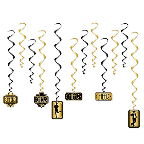 Beistle Great 20s Whirls | Premium Hanging Party Decorations (1-pack) (1920s Party)