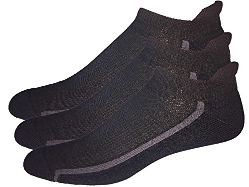 Mens 3-Pack No Show Tab Golf Socks (Large, Black)
