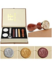 Mingting Wax Seal Stamp Kit,Mingting Classical Old-Fashioned Antique Wax Stamp Seal Kit Initial Letters Alphabet Set Gift Box with Vintage Wooden Handle and Brass Color Head
