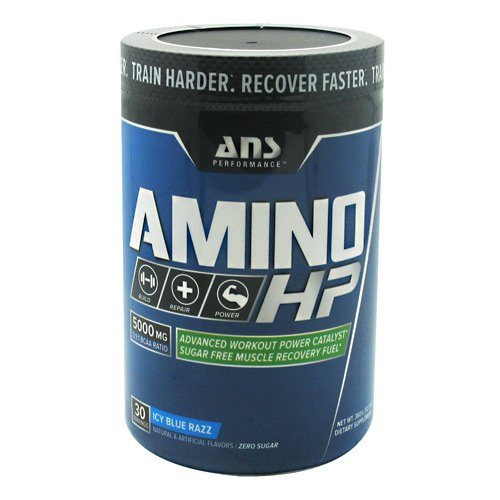 ANS Performance Amino HP, Advanced BCAA Workout Power Catalyst & Sugar Free Muscle Recovery Fuel, Caffeine Free Icy Blue Razz, 360 Gram
