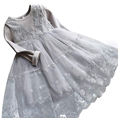 - TTYAOVO Girls Knit Longsleeve Lace Flower Tulle Layered Princess Party Dresses Size 6-7 Years Gray