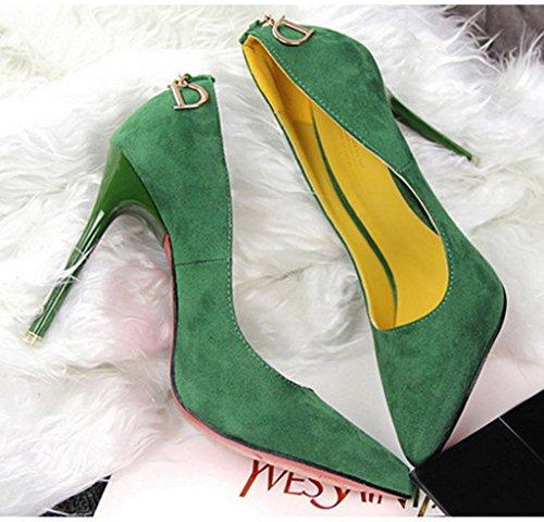 Minetom Mujer Zapatos de Tacón con Punta Cerrada Clásico Trabajo High Heel Shoes Ante Zapatos de Tacón Stiletto Verde