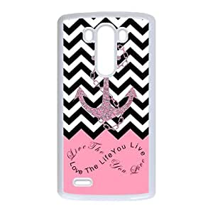 Love The Life You live, Live The Life You Love.Infinity Symbol Black Chevron Zigzags & Pink Anchor Pattern Personalized Custom Best Plastic Case for LG G3 ,Black or White for Choice