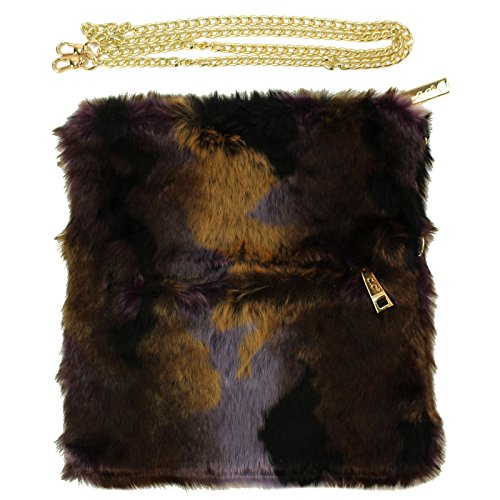 CC Faux Fur Furry Mix 3 in 1 Crossbody Shoulder Bag Handbag Clutch Purse Purple