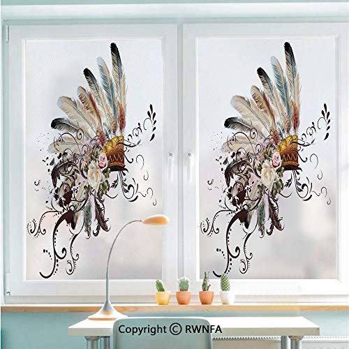 (Window Door Sticker Glass Film,Native American Symbol with Floral Arrangements Head Wear Flowers Swirls Shapes Decorative Anti UV Heat Control Privacy Kitchen Curtains for Glass,22.8 x 35.4 inch,Mult)
