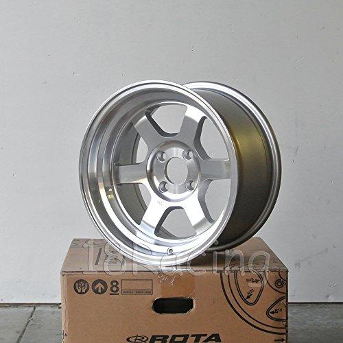 4 PCS ROTA GRID V 15X8 PCD:4X100 OFFSET:0 HB67.1 FULL POLISH SILVER - Wheel Rota
